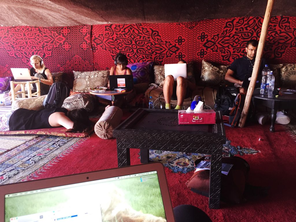 "A typical workday in the Berber tent on the rooftop of our Rabat, Morocco coworking space, 7AY (pronounced ""HAY"")."